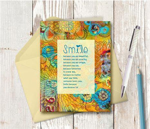 0476 Smile Because You Are Beautiful Note Card