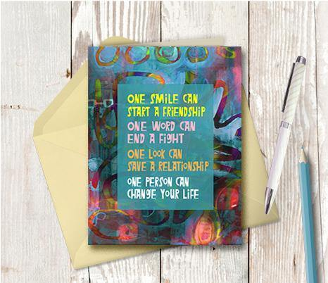 0490 One Smile Can Start A Friendship Note Card - deloresartcanada