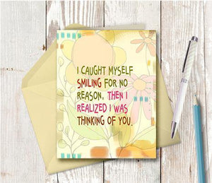 0491 Caught Myself Smiling Note Card - deloresartcanada