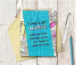 0520 Family Is Like Music Note Card - deloresartcanada
