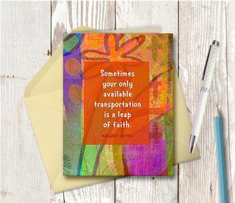 0595 Leap Of Faith Note Card - deloresartcanada