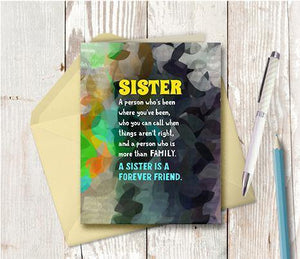 0667 Sister Forever Friend Note Card - deloresartcanada