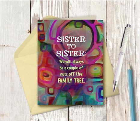 0675 Sisters Nuts Note Card - deloresartcanada