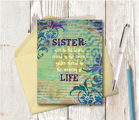 0681 Sister Heart Note Card - deloresartcanada