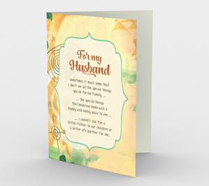 1426 For My Husband Card by Deloresart