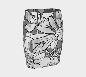 Flower Meadow Greys Fitted Skirt by Deloresart