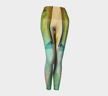 Squared Off Teal, Gold and Rust Leggings by Deloresart
