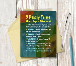 0720 Deadly Words Note Card - deloresartcanada