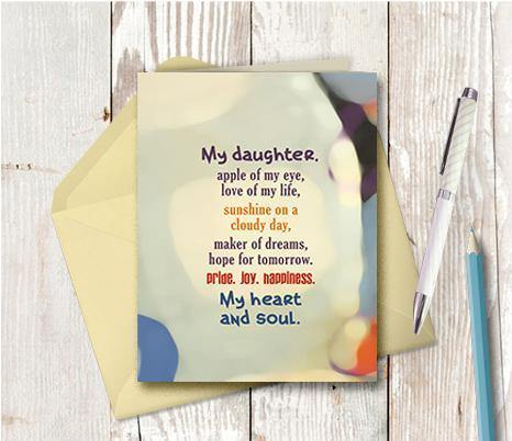 0751 My Daughter Apple Of My Eye Note Card - deloresartcanada