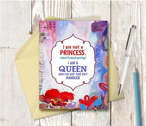 0754 I Am A Queen Note Card