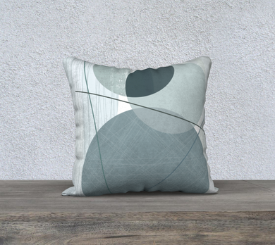 Pivot Point Muted Teals Throw Pillow by Deloresart