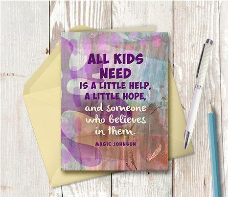 0799 Kids Need Hope And Help Note Card - deloresartcanada