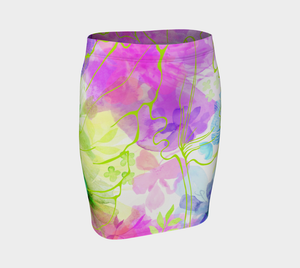 Posy Cluster Purples Fitted Skirt by Deloresart