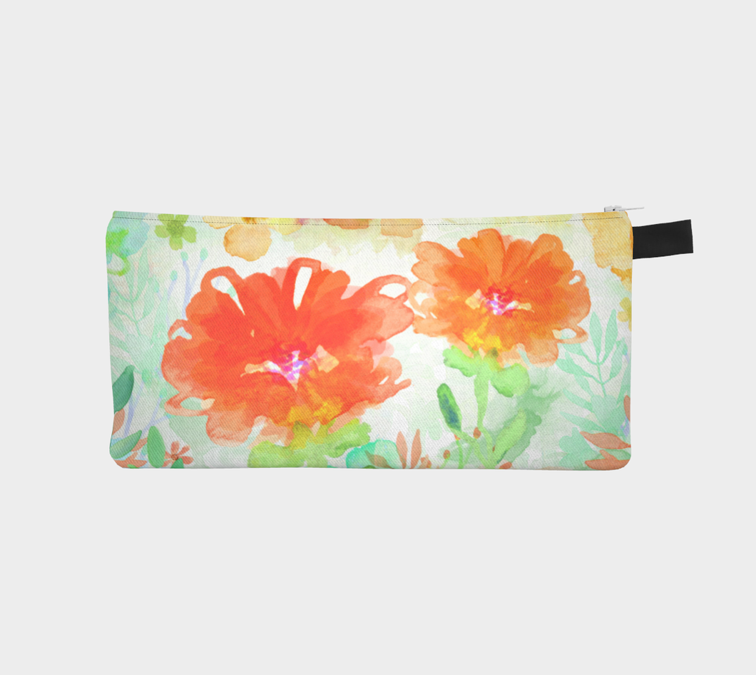 Coral Floral Pencil Case by Deloresart