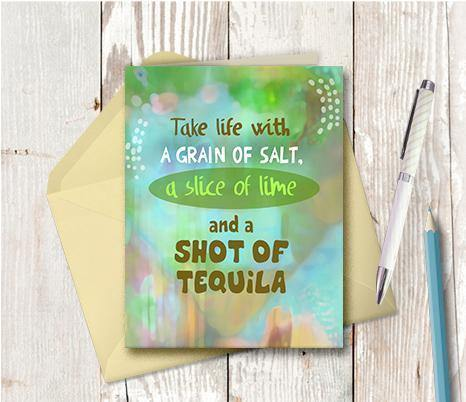 0819 Take Life With A Grain Of Salt Tequila Note Card