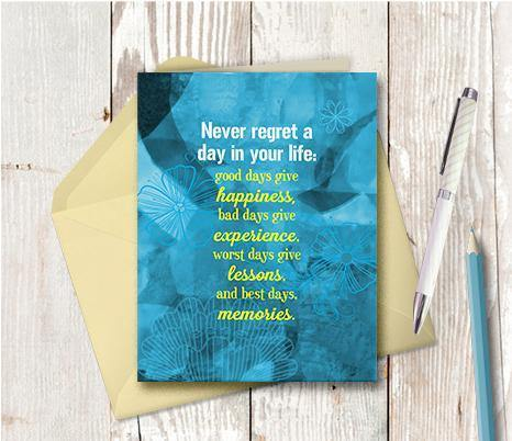 0851 Never Regret Note Card - deloresartcanada
