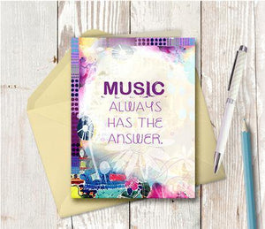 0857 Music Always Has The Answer Note Card