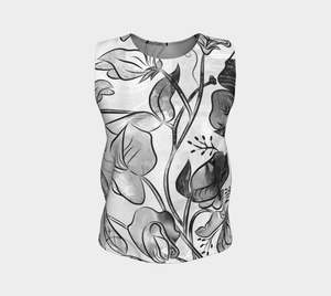 Queen Sweet Pea Loose Tank in Greyscale