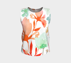 Dreamy Garden Loose Tank In Coral and Greens