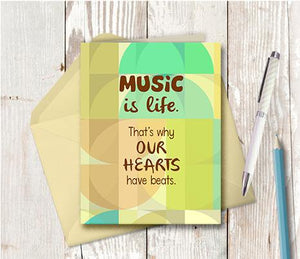 0961 Music Is Life Heart Beat Note Card