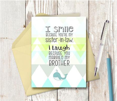 0963 Sister In Law Laughing Note Card