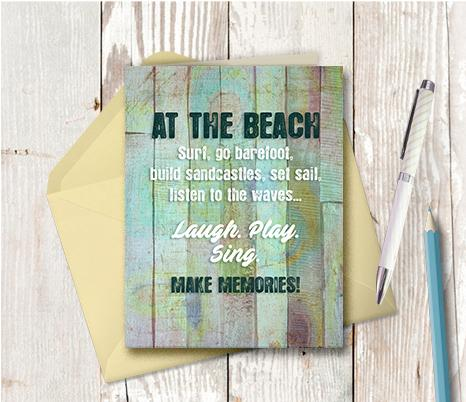 0983  At The Beach Go Barefoot Note Card