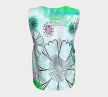 Flower Power Loose Tank by Deloresart in Blues and Greens