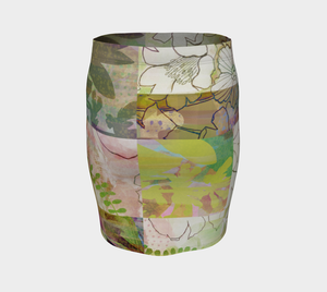 Sage Obscurity Collage Fitted Skirt by Deloresart
