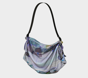 Trailing Petals Muted Purple Origami Tote by Deloresart