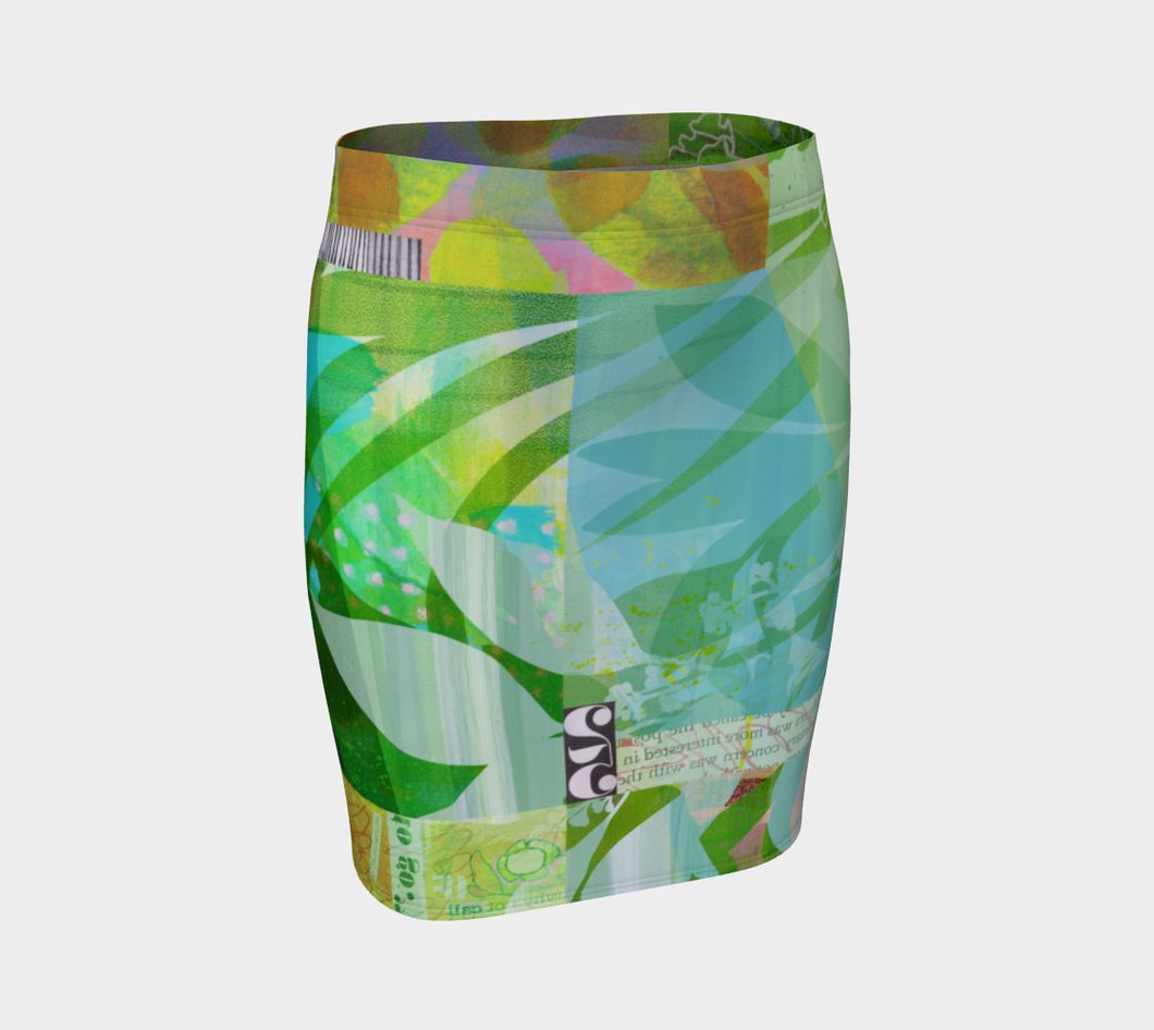 Abounding Alder Collage Fitted Skirt by Deloresart