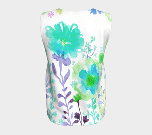 Grandma's Garden Loose Tank Teal and Purple - deloresartcanada