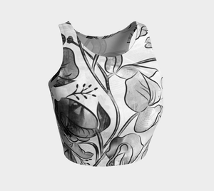 Queen Sweet Pea Greyscale Crop Top by Deloresart
