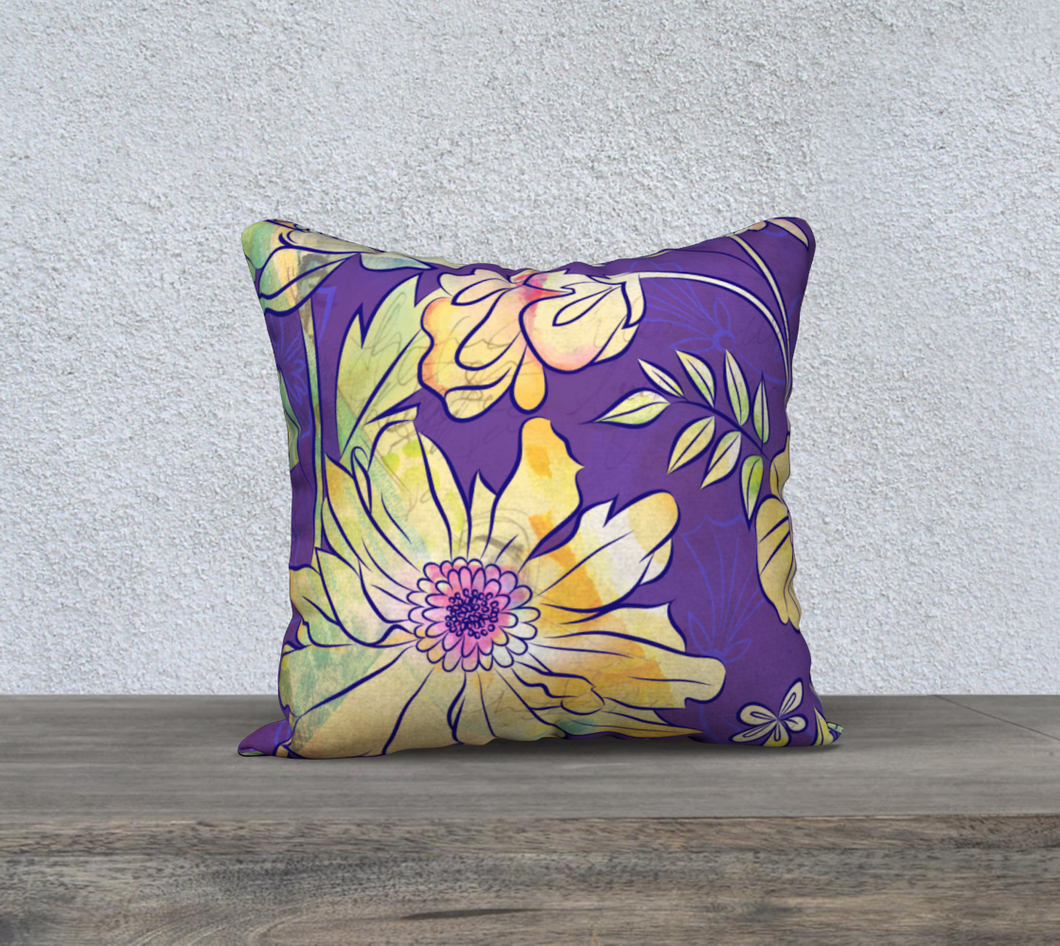 Francella Floret Watercolour Floral Pillow by Deloresart