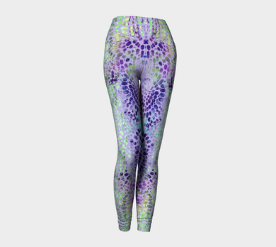Earth Message Purple Leggings by Deloresart