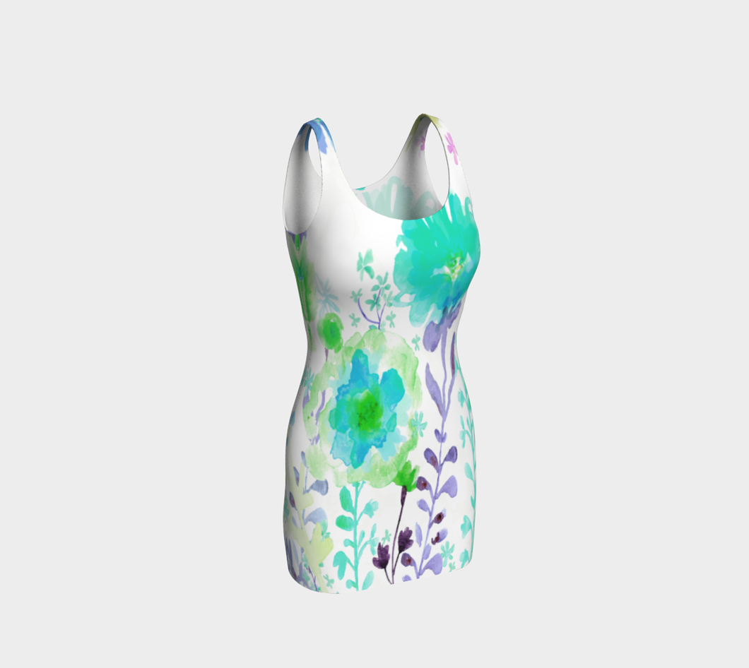 St. Mike's Garden Turquoise Bodycon Dress by Deloresart