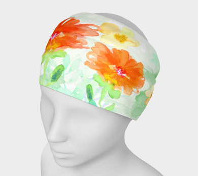 Coral Floral Headband by Deloresart