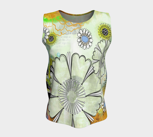 Flower Power Loose Tank by Deloresart Golden - deloresartcanada
