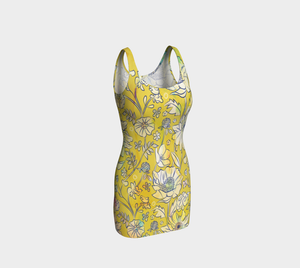 Francella Yellow Bodycon Dress by Deloresart
