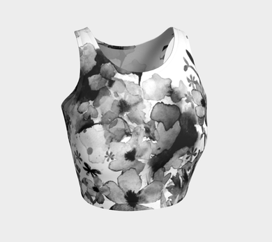 Harmonious Garden Black Crop Top by Deloresart