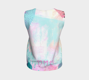 The Snuggle is Real Loose Tank in Baby Blue and Pink - deloresartcanada
