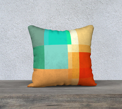 Square Off Teals and Oranges Throw Pillow by Deloresart