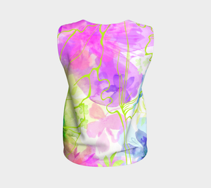Posy Cluster Loose Tank in Purple, Green and Pink - deloresartcanada