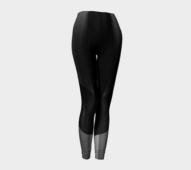 Satin Symmetry Grey and Black Leggings by Deloresart