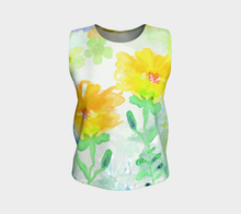 Cloral Foral Loose Tank in Yellows - deloresartcanada