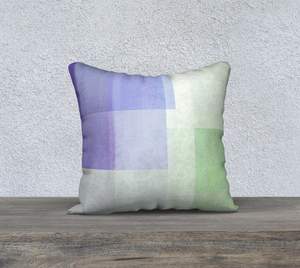 Square Off Purple and Green Throw Pillow by Deloresart
