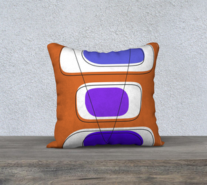 Telly Trio Blues and Brown Pillow by Deloresart