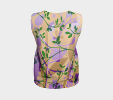 Fanciful Forest Loose Tank Purple, Green and Sand - deloresartcanada
