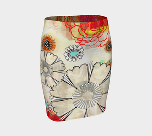 Flower Power Fitted Skirt by Deloresart