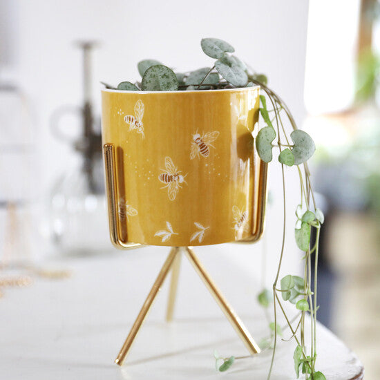 Yellow Bee Planter with Gold Stand