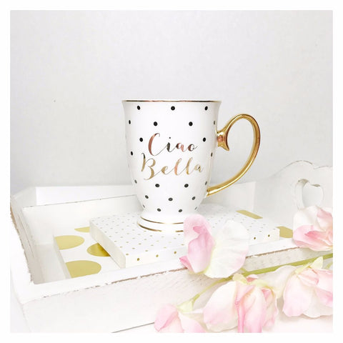 Bombay Duck Ciao Bella Spotty Gold Mug